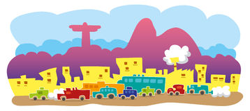Traffic in Rio de Janeiro. Busy street in Rio de Janeiro with many cars. Much traffic and noise with the redeeming Christ and the Corcovado as the background Stock Photography