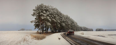 Traffic on the road in bad weather conditions in winter.  stock image