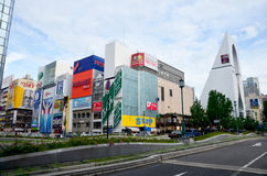 Traffic road and Billboard advertising at Dontonbori area Stock Photography