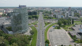 The traffic on a road in Bratislava stock video