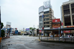 Traffic road and bus station at front of wakayama railway statio Royalty Free Stock Images