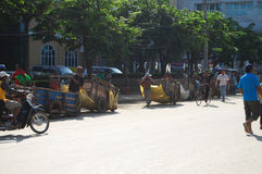 Traffic road of Cambodia at Poipet Royalty Free Stock Photography