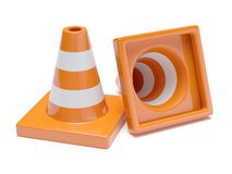 Traffic road cones. Road signs isolated on white background. 3d rendering illustration Royalty Free Stock Image