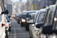Traffic on the road. In a European city, stopping vehicular traffic, stop cars Royalty Free Stock Images