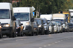 Traffic on the road. In a European city, stopping vehicular traffic, stop cars Stock Photo
