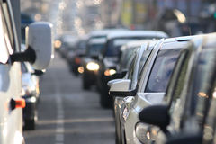 Traffic on the road. In a European city, stopping vehicular traffic, stop cars Stock Image