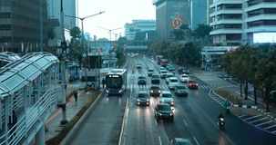 Traffic on the road in Jakarta city stock footage