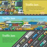 Traffic road jam vector transportation problems illustration at night and day city transport urban vehicle traffic-jam Royalty Free Stock Images