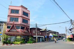 Traffic road and junction at Sakonnakhon city in morning time Stock Photo