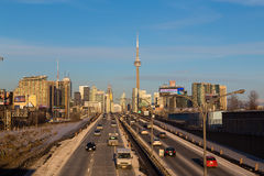Traffic on a Road Leading to Toronto Downtown at Rushhour Royalty Free Stock Photos