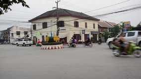 Traffic on the road of Luang Prabang stock footage
