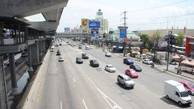 Traffic on the road at Mass Rapid Transit Authority of Thailand stock footage