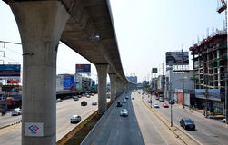 Traffic on the road and Mass Rapid Transit Authority of Thailand Royalty Free Stock Images