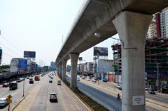 Traffic on the road and Mass Rapid Transit Authority of Thailand Royalty Free Stock Photography
