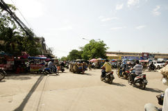 Traffic road and people visit and walking at Rong Kluea Market Stock Photo