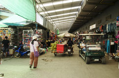 Traffic road and people visit and walking at Rong Kluea Market Royalty Free Stock Photography