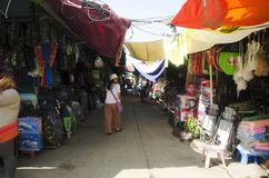 Traffic road and people visit and walking at Rong Kluea Market Stock Images