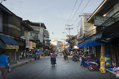 Traffic road and people walk on street at classic old town in Samut Songkhram, Thailand Royalty Free Stock Photo
