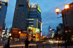 Traffic road and people walking at Dotonbori in nigth time Stock Photography