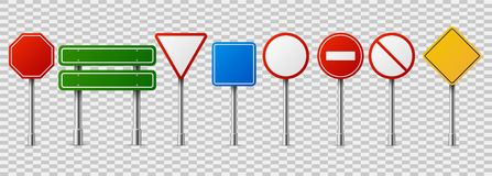 Traffic road realistic signs. Empty highway speed street sign, danger red circle vector isolated set stock illustration