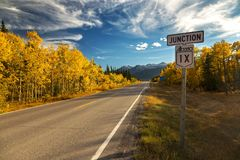 Traffic Road Sign in Alberta Rocky Mountain Foothills Stock Image