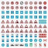 Traffic road sign collection icons set, flat style. Traffic road sign collection icons set. Flat illustration of 100 Traffic road sign collection vector icons Royalty Free Stock Photos