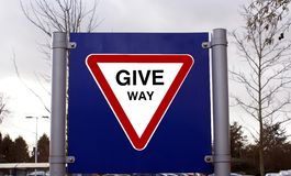 Traffic road sign. Give Way Sign Royalty Free Stock Image