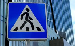 Road sign Pedestrian crossing royalty free stock image