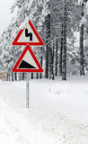Traffic road sign in snow Stock Photo