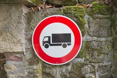 Traffic and road sign on the wall. No truck prohibited Royalty Free Stock Photography