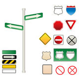 Traffic and road signs. Various traffic and road signs Royalty Free Stock Photo
