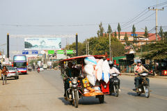 Traffic on the road on the Thai Cambodian border. Royalty Free Stock Photos