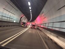 Traffic in road tunnel under river thames. Blackwall tunnel, London royalty free stock photography