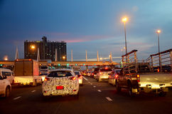Traffic road in twilight time at Toll Expressway near Suvarnabhu Royalty Free Stock Photo