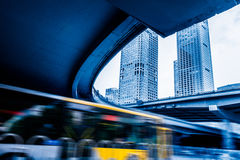 Traffic On Road Under Overpass in Shanghai. China Royalty Free Stock Images