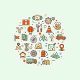 Traffic road vector infographic concept with line transport and landscape icons Royalty Free Stock Photography