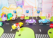 The traffic on a roads handmade paper maquette Royalty Free Stock Photography
