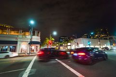 Traffic on Rodeo Drive at night. Beverly Hills, California Stock Image