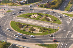 Traffic Roundabout. Traffic circle  grzegórzeckie in Krakow with a bird perspective .Poland Stock Image