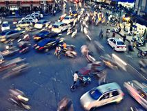 Traffic in roundabout in Hanoi. Traffic in a roundabout in Hanoi, Vietnam Royalty Free Stock Photo