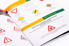 Traffic rules. Study book opened page with road signs Royalty Free Stock Photos
