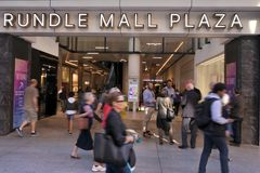 Traffic on Rundle Mall Plaza in Adelaide, South Australia State Australia. Traffic on Rundle Mall Plaza, a very popular local and tourist attraction in Adelaide royalty free stock images