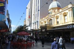 Traffic on Rundle Mall shopping precinct in Adelaide South Australia. Traffic on Rundle Mall shopping precinct, a very popular local and tourist attraction in royalty free stock photography