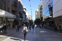 Traffic on Rundle Mall shopping precinct  in Adelaide, South Australia State Australia. Traffic on Rundle Mall shopping precinct, a very popular local and royalty free stock photos