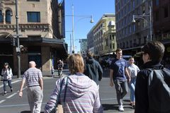 Traffic on Rundle Mall shopping precinct  in Adelaide, South Australia State Australia. Traffic on Rundle Mall shopping precinct, a very popular local and royalty free stock photography