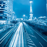 Traffic rush hour at night in shanghai. Oriental pearl Royalty Free Stock Photo