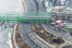 Traffic during rush hour in Seoul city, highway Road beside hun Royalty Free Stock Images