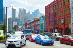 Traffic at rush hour, Singapore Royalty Free Stock Photography