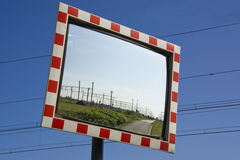 Traffic safety mirror Stock Photo