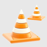Traffic safety orange road cones isolated Royalty Free Stock Photos